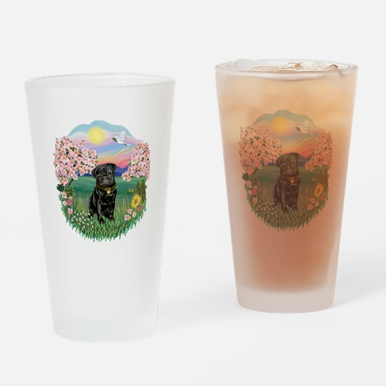 Blossoms-Black Pug Drinking Glass