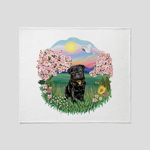 Blossoms-Black Pug Throw Blanket