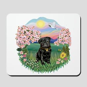 Blossoms-Black Pug Mousepad