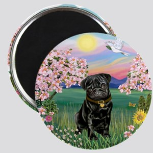 Blossoms-Black Pug Magnet