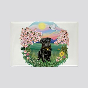 Blossoms-Black Pug Rectangle Magnet