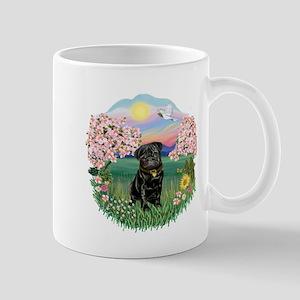 Blossoms-Black Pug Mug