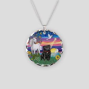 MagicalNight-Black Pug Necklace Circle Charm