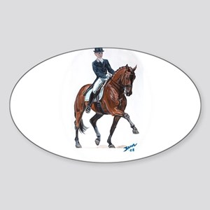 Dressage horse painting. Sticker (Oval)
