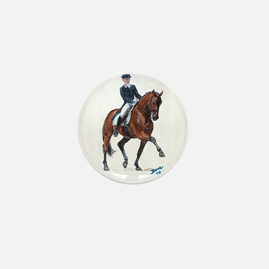 Dressage horse painting. Mini Button