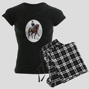 Dressage horse painting. Women's Dark Pajamas