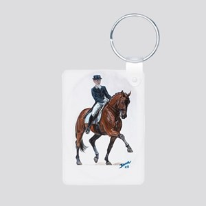 Dressage horse painting. Aluminum Photo Keychain