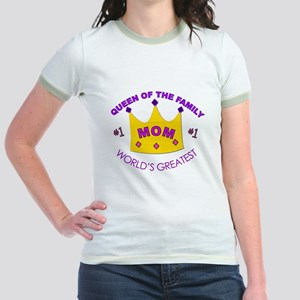 """Queen of the Family"" #1 Mom Jr. Ringer T-Shirt"