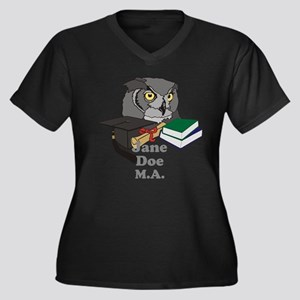 Custom Owl Graduate Women's Plus Size V-Neck Dark