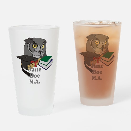 Custom Owl Graduate Drinking Glass