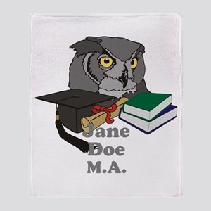 Custom Owl Graduate Throw Blanket