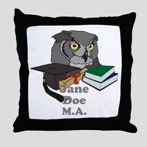 Custom Owl Graduate Throw Pillow