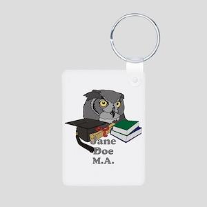Custom Owl Graduate Aluminum Photo Keychain