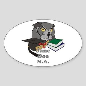 Custom Owl Graduate Sticker (Oval)