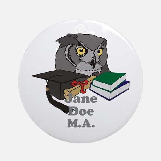 Custom Owl Graduate Ornament (Round)