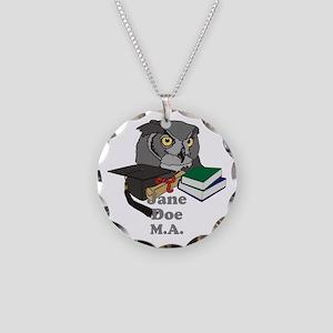 Custom Owl Graduate Necklace Circle Charm