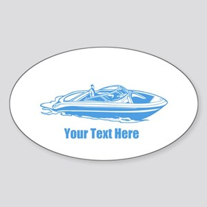 Motorboat. Add Your Text. Sticker (Oval)