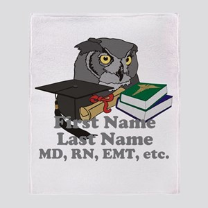 Custom Owl Medical Graduate Throw Blanket