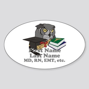 Custom Owl Medical Graduate Sticker (Oval)
