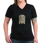 Jesus Face V1 Women's V-Neck Dark T-Shirt