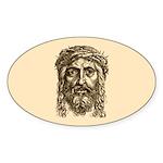 Jesus Face V1 Sticker (Oval 10 pk)