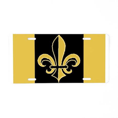 Fleur Black and Gold Aluminum License Plate