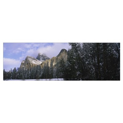 Clouds over mountains, Cathedral Rocks, Yosemite N Framed Print