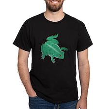 Green Frog Black T-Shirt