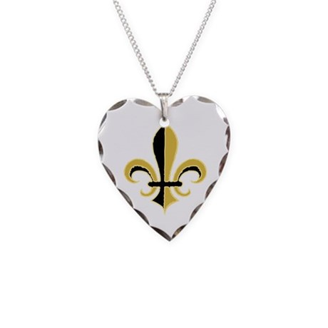 Fleur Black and Gold Necklace Heart Charm