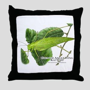 Greater Angle Wing Katydid Throw Pillow