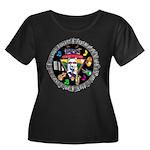WooFTunes Women's Plus Size Scoop Neck Dark T-Shir