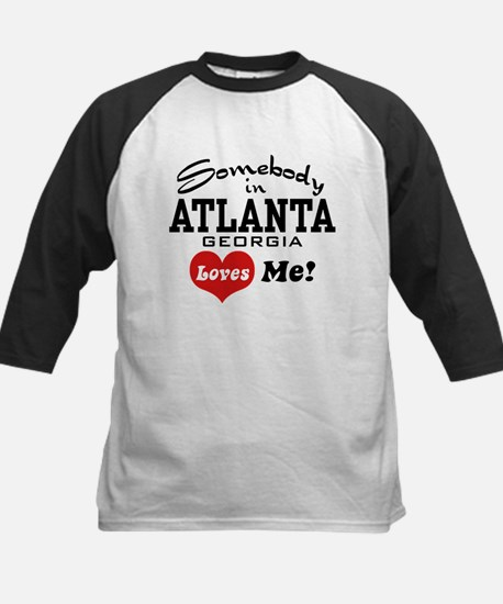 Somebody In Atlanta Loves Me Kids Baseball Jersey