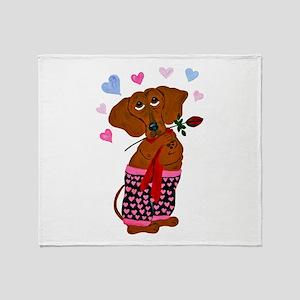 Dachshund In Pink Heart Short Throw Blanket