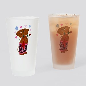 Dachshund In Pink Heart Short Drinking Glass