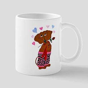 Dachshund In Pink Heart Short Mug