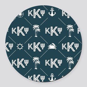 KKP Blue Pattern Round Car Magnet