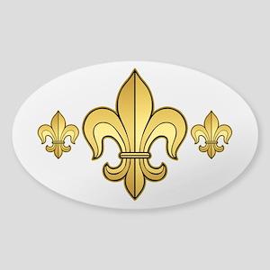 Gold Fleur de lis Sticker (Oval)