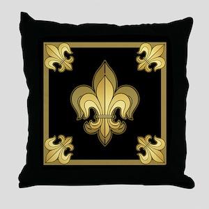 Gold Fleur de lis Throw Pillow