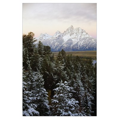 Autumn snow on Grand Teton mountains, Grand Teton Poster