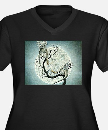 Unique Dragon pictures Women's Plus Size V-Neck Dark T-Shirt