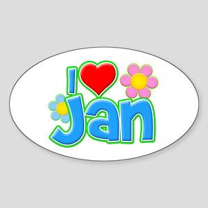 I Heart Jan Oval Sticker