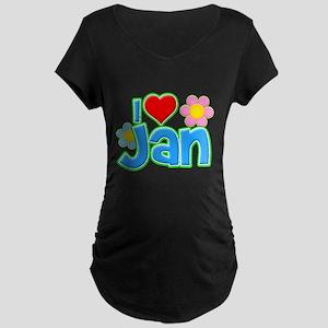 I Heart Jan Dark Maternity T-Shirt