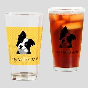 Border Collie Sunburst Drinking Glass