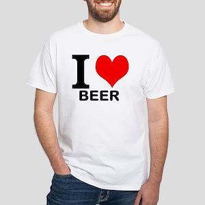 """White """"I HEART BEER"""" T-Shirt"""