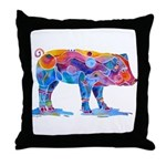 Pigs of Many Colors Throw Pillow