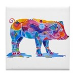 Pigs of Many Colors Tile Coaster