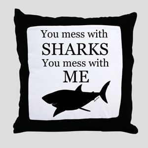 Don't Mess with Sharks Throw Pillow