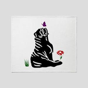 Bulldogs -n- Butterflys Throw Blanket