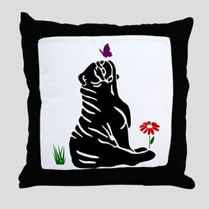 Bulldogs -n- Butterflys Throw Pillow
