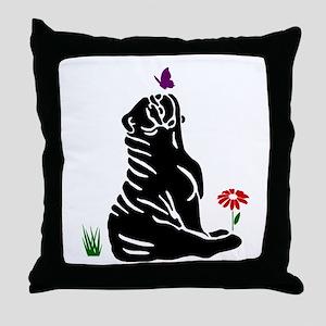 Bulldogs -n- Butterflys Throw Pillow